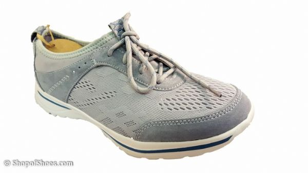 Ultra lightweight neutral grey suede leather laced leisure shoe.